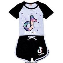 Tik Tok-traje deportivo para niños y niñas, conjunto de dos piezas de 2 años para verano, de 2 a 15 años, chándal escolar para adolescentes