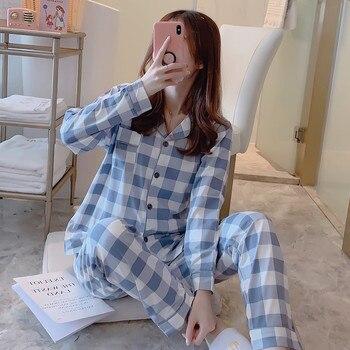 2020 Women Cotton Pajamas Sets with Pants Long Sleeve Turn-down Collar with Pocket Pyjama Cute Cartoon Button Top+Pants Pijama burgundy stand collar long sleeves top with button details