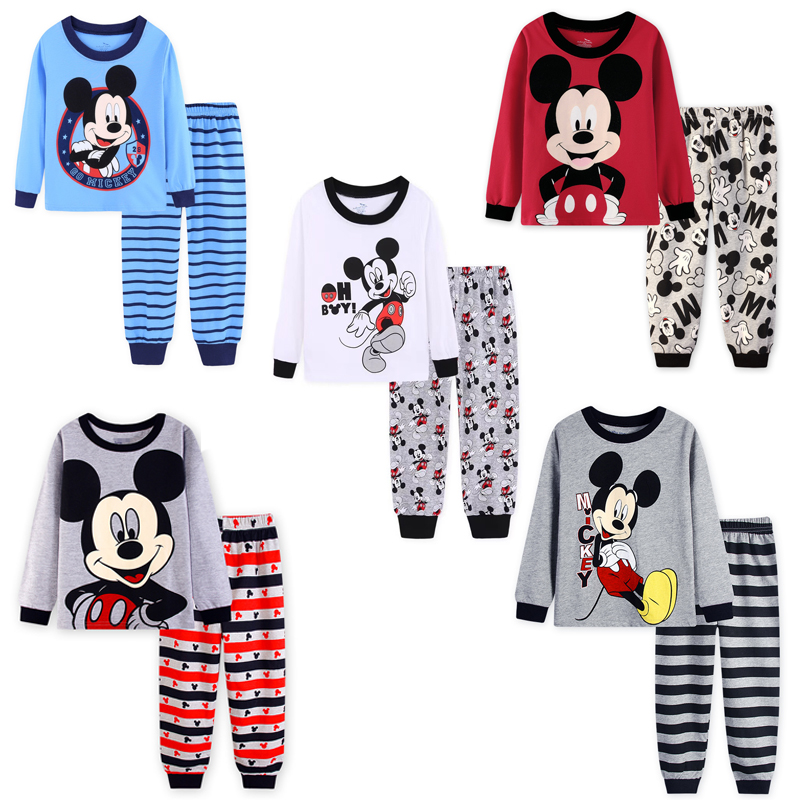 2019 New Boys Long Sleeve Pyjamas Kids Mickey Mouse Pajamas Baby Cotton Pijama Children Sleepwear Girls Clothing Sets Baby Wears