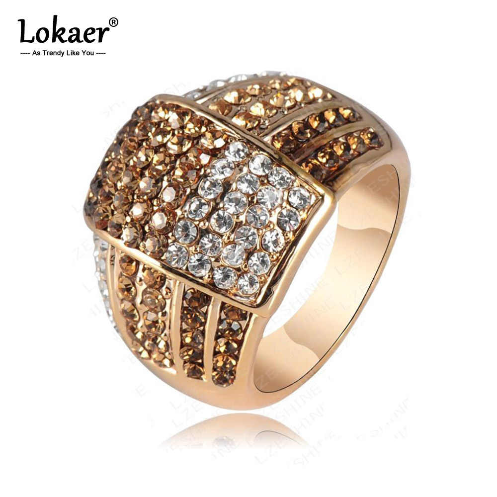Lokaer Мода вымощенный набор со стразами вечерние кольца для Для женщин золотые шорты для девочек с Цвет с геометрическим принтом в богемном стиле CZ кольца с настоящими австрийскими кристаллами, Женское кольцо Ri-HQ0020
