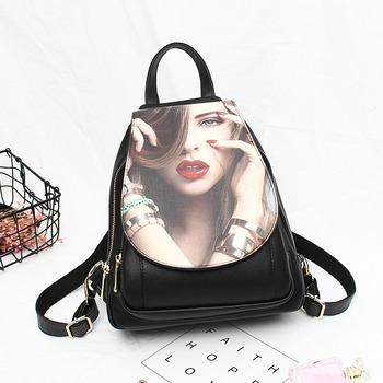 The new 2020 SAN of beautiful female printing student backpack backpack waterproof personality fashion wear soft leather bag