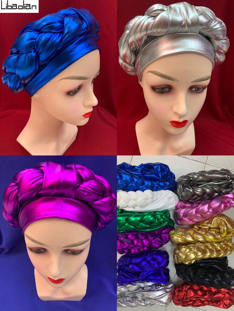 African headtie hat party auto gele elegant nigeria turban headband already tied african head wraps cap 12pcs/pack
