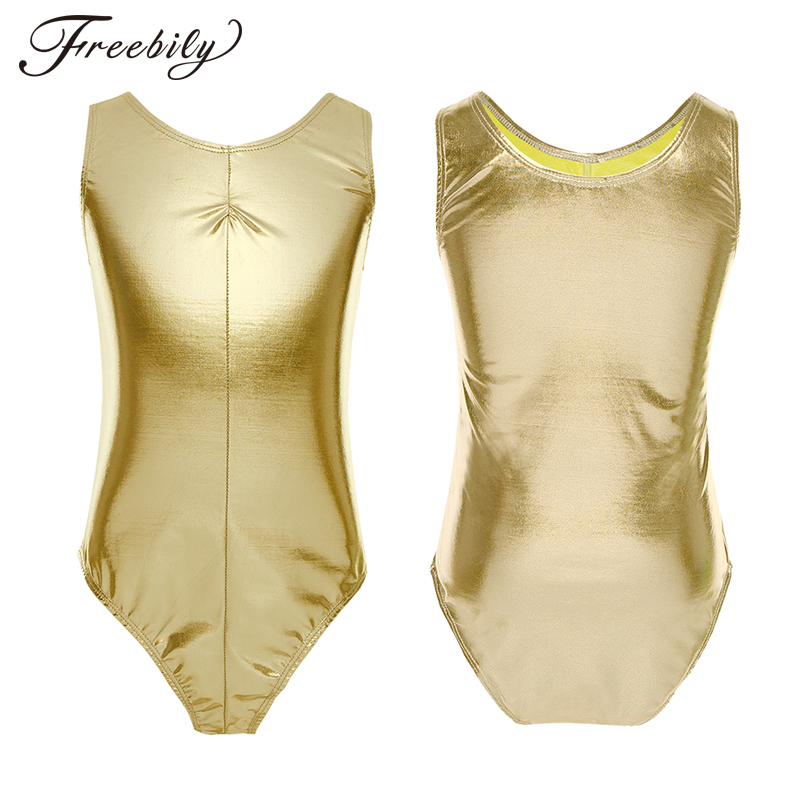 Kids Girls Sleeveless Shiny Patent Leather Ballet Dance Gymnastics Leotard One-Piece Swimsuit Children Stage Dance Wear