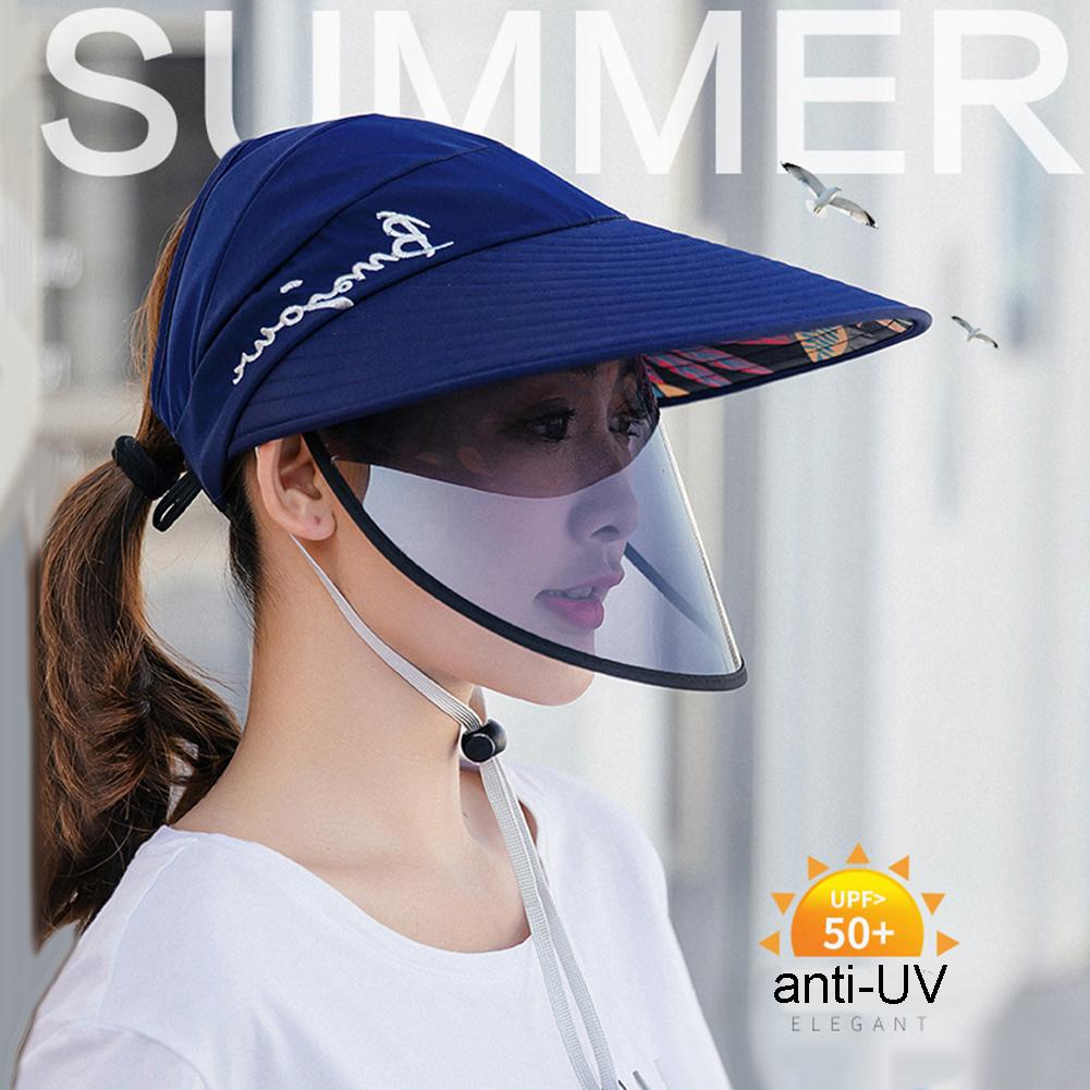 Women Letters Embroidery Wide Brim Removable Protective Face Mask Visors Sun Hat Stop The Flying Spit For Summer Travel SunHats
