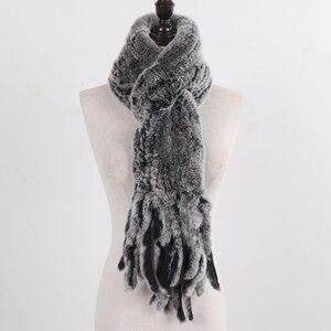 Image 5 - Nouvelle dame tricoté réel Rex fourrure de lapin gland écharpes femmes hiver chaud naturel Rex fourrure de lapin silencieux épais tricot véritable fourrure écharpe