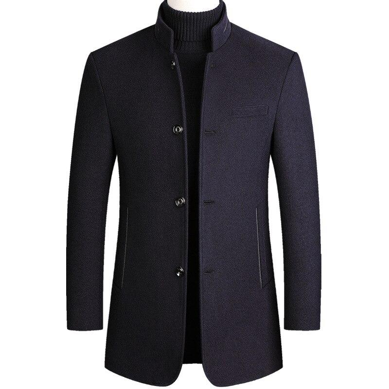 Woolen Coat Men Cotton Velvet Thick Wool Coat Autumn Winter Casual Long Blend Coat Long Sleeve Overcoat Male Plus Size Topcoat