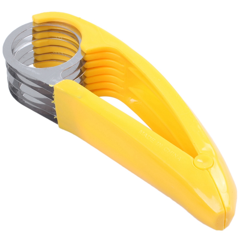 Home Kitchen Tools Ham Salad Pressed Sliced Banana Slicer Fruit Cucumber Cutter Yellow Plastic + Stainless Steel
