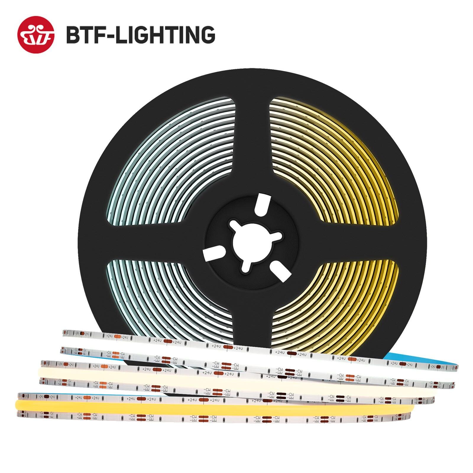 FCOB CCT LEVOU Luz Tira 640 LEDs de Alta Densidade Flexível FOB RA90 10 milímetros Luzes Led COB Branco Quente com Branco Pode Ser Escurecido Linear DC24V