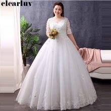 Half-sleeve Wedding Dresses Free Shipping 2019 V-neck Plus Size Vestido De Novia Crystal Flower Elegant White Bride Dress T107 цена 2017