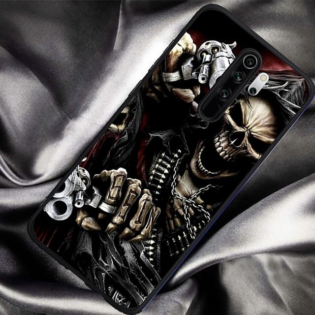 Étui de téléphone hybride de luxe squelette de crâne de faucheuse pour Xiaomi Mi 9T Redmi Note 5 6 7 8 K20 9T étui souple en silicone Pro