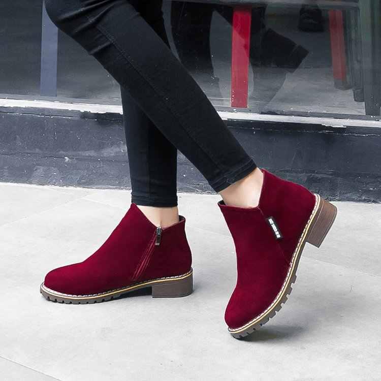 Phụ Nữ Mới Giày Bốt Martin Thu Đông Giày Cổ Điển Dây Kéo Tuyết Mắt Cá Chân Giày Mùa Đông Da Lộn Ấm Lông Thú Sang Trọng Nữ Giày Nữ