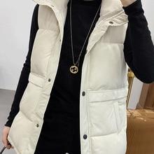 Padded Jacket Waistcoat Vest Winter Mandarin-Collar Female Plus-Size Cotton Veats Women Sleeveless