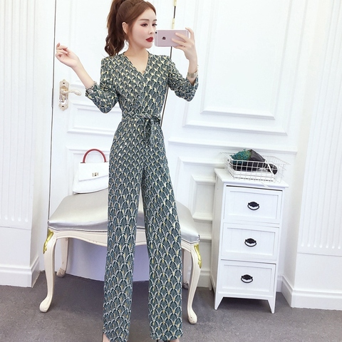 New arrival Women Clubwear V-neck Print  Jumpsuits Party Office Lady Playsuits Romper Trousers Karachi