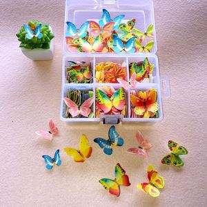 100pcs Mixed Butterfly flowers Edible Glutinous Wafer Rice Paper Cake Cupcake Toppers Cake Decoration Birthday Wedding Cake Tool