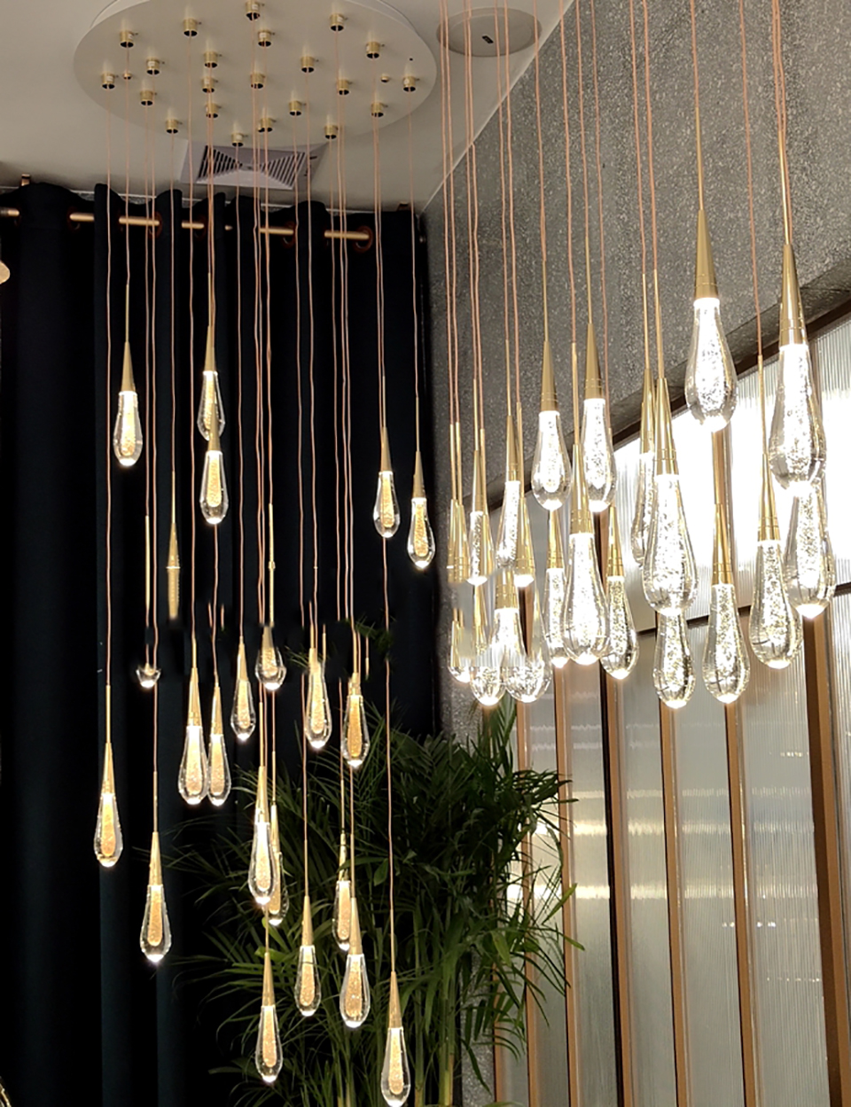 Dimension Details & Availability Modern Magic Gold Plated 36-Luxury Crystal Teardrop Lights Molecular Bean