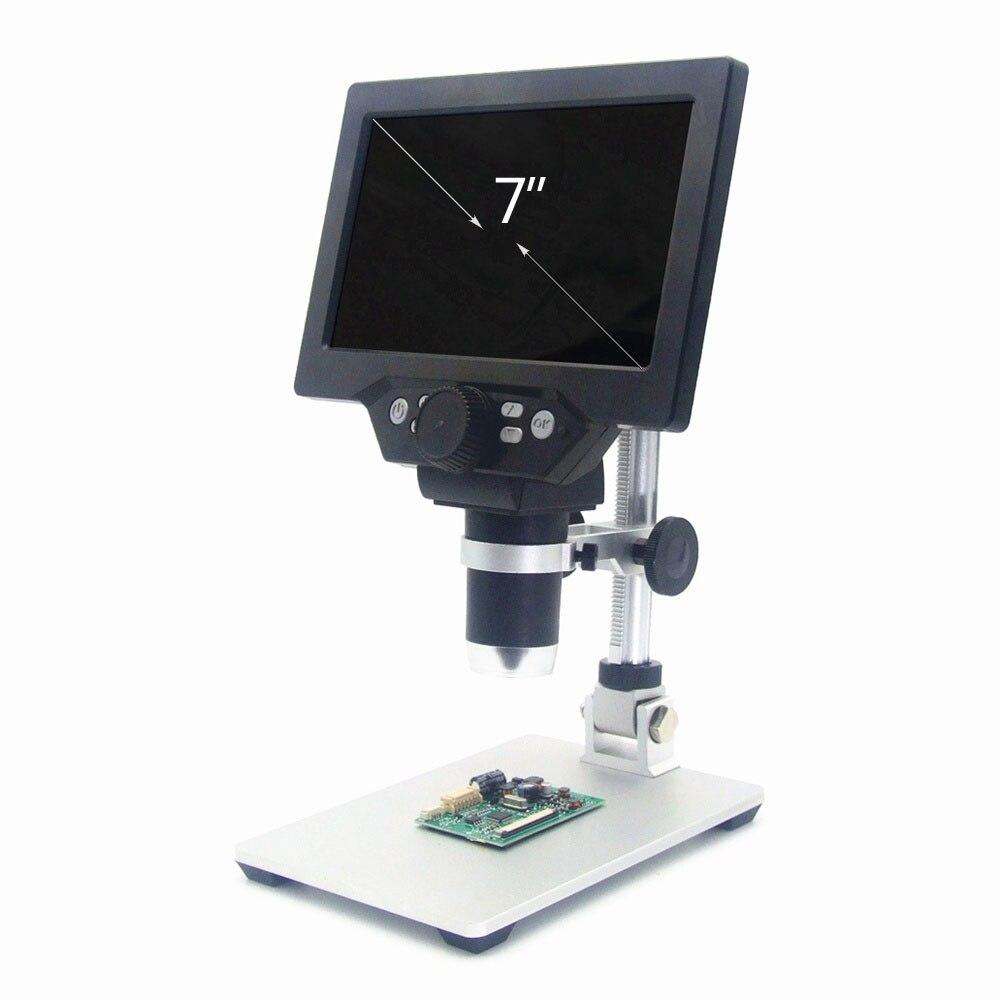 Microscope vidéo numérique, Microscope numérique 1 1200X G1200 Microscope vidéo électronique de 7 pouces à affichage LCD, loupe à amplification continue de 12MP avec batterie - 6