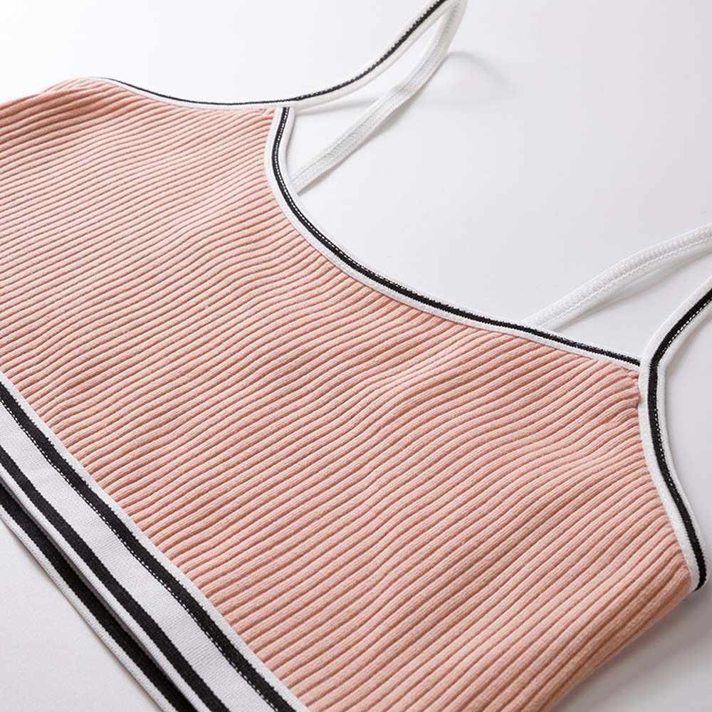 Genç tatlı şeker renk sutyen çizgili iplik nervürlü Bralette yelek spor eğitimi sutyen iç çamaşırı japon tarzı tüp üst iç çamaşırı