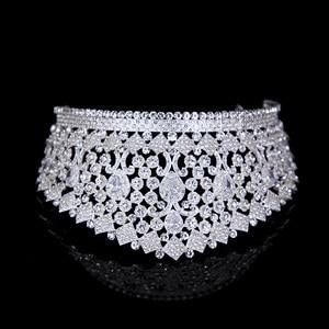 Image 3 - Luxe Bridal Tiara Grote Kristallen Zirkoon Koningin Crown Bruiloft Accessoires Diadeem hoofdband Pageant Haar Sieraden Voor Bruiden Party