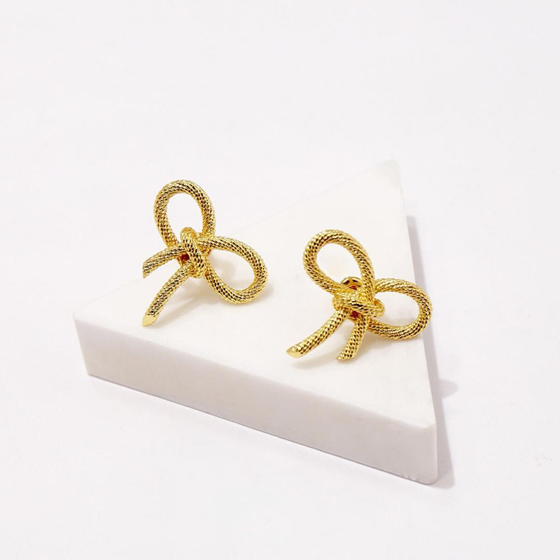 High Quality OL Style No Fade Fashion Women Jewelry Gold Color Knot Design Stud Earring Brinco