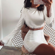 цена на Crop Top and dress Two Pieces Women Sexy Solid hollow out Lace Flare Sleeve Long flare Sleeve dress Club Outfit Matching Sets
