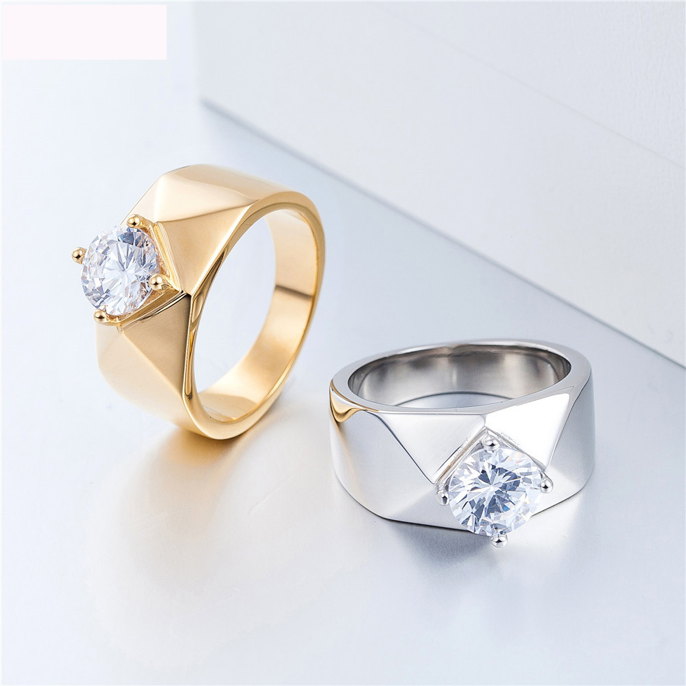 New Arrival Engagement Fashion Jewelry Rings Titanium Steel Wedding Lover Finger Ring For Men And Women Party Gifts in Rings from Jewelry Accessories