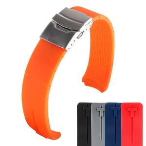 Image 5 - Tissot 시계 스트랩에 대 한 고무 시계 밴드 스포츠 T 터치 T013420A T047 T33 팔찌 남자 실리콘 팔찌 20mm 21mm 오렌지 블랙