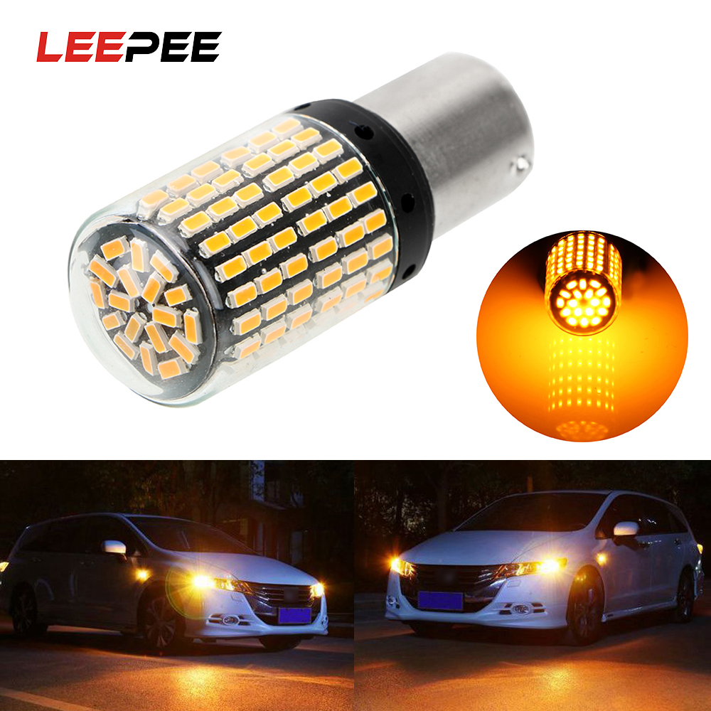 LEEPEE 1 Stück 1156 Ba15s P21W 3014 144 smd <font><b>Led</b></font>-lampen Canbus Auto Auto Blinker Reverse Lichter Keine Hyper flash Lichter image