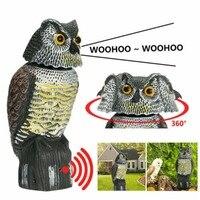 Espantapájaros realista con cabeza giratoria, señuelo con sonido de búho, protección contra plagas repelente, espantapájaros, patio de jardín