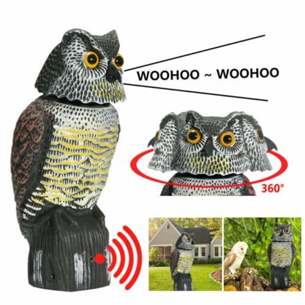 Realista pássaro scarer rotação cabeça som coruja prowler chamariz proteção repelente controle de pragas espantalho jardim quintal mover|Esculturas e estátuas de jardim|   -