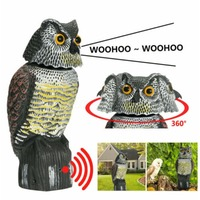 Realistische Vogel Scarer Rotierenden Kopf Sound Eule Prowler Decoy Schutz Repellent Pest Control Scarecrow Garten Hof Bewegen