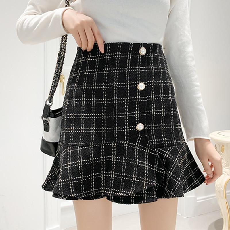 Winter Plaid Tweed Skirts Women Mini Pencil Skirts Wool Mermaid Skirts Korean High Waist Elegant Tweed Skirt Lady Vintage V733