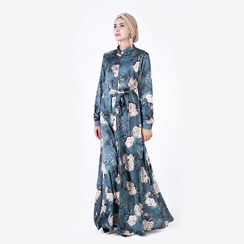 Middle East Stereo Digital Print Long-sleeved Dress Muslim Arab Dubai Afghan Button Collar Collar Belt National Women's Dress