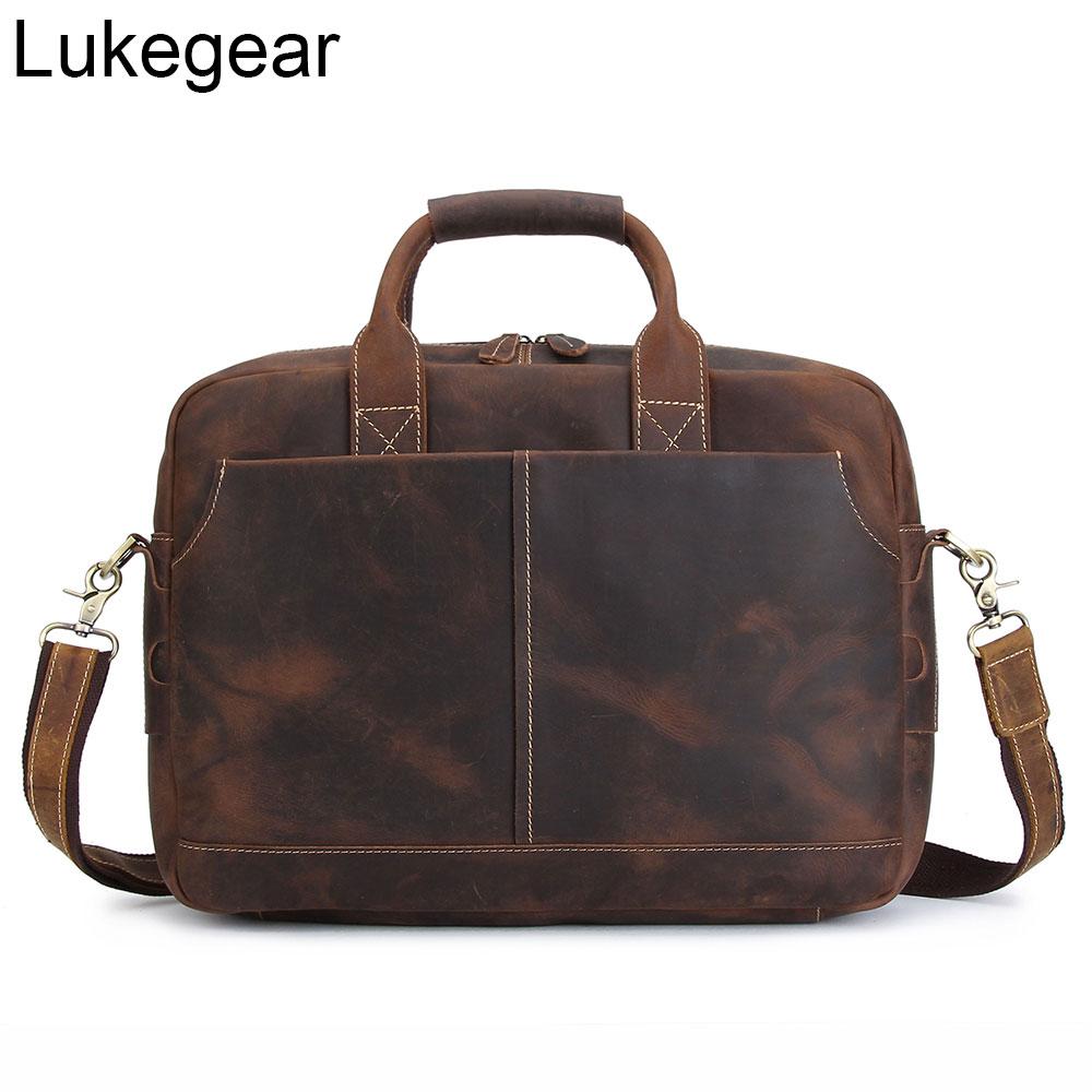 Lukegear Handmade Genuine Leather Briefcase Top Grain Cowhide Laptop Shoulder Bags For Men Women