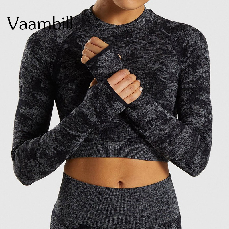 Women Long Sleeve Yoga T-shirt Gym Seamless Crop Top Fitness Tshirt Sport T Shirt Workout Sports Tops For Woman Sportswear