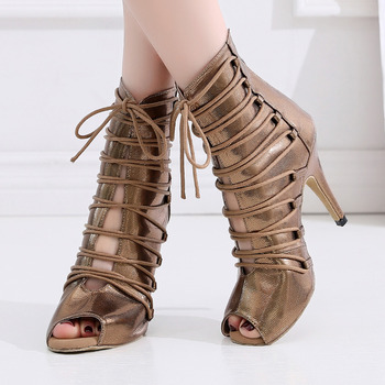 Salsa Jazz Tango Outdoor Rubber Sole Training Latin Dance Shoes for Dancing Women Newmen High Heels Satin Boots