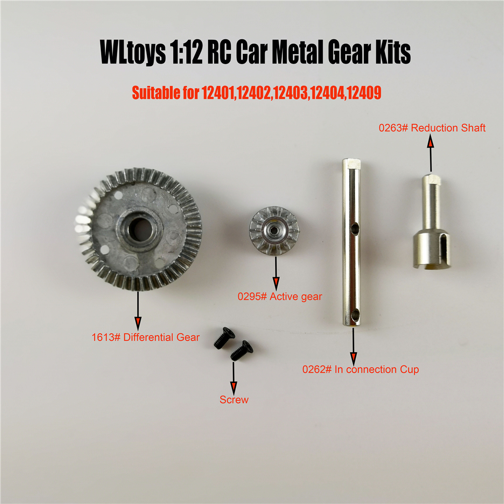 <font><b>Wltoys</b></font> RC Car Spare <font><b>Parts</b></font> Upgraded metal differential gear Set Differential Large Gear Driving Gear for 12401 12402 12403 12404 image