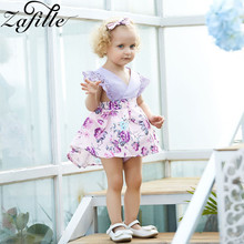 ZAFILLE Summer Baby Girl Dress Cute Lace Newborn Infant Clothes Baby Romper Floral Print Sleeveless Girl Clothing With Headband cute baby girls flower princess sleeveless dress sundress for newborn baby girl infant children clothes kid clothing summer