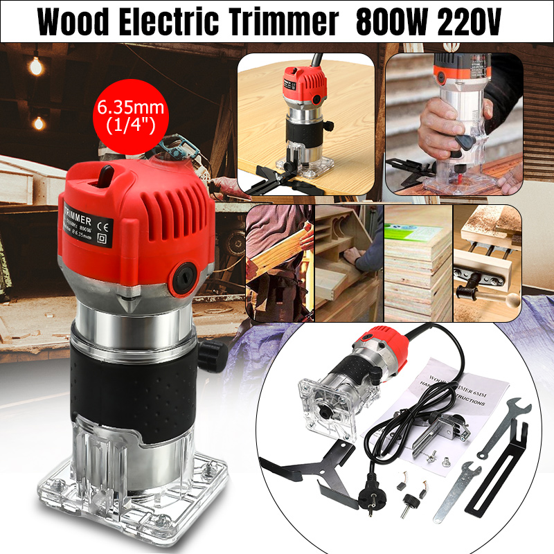 1200W 220V Electric Wood Trimmer Laminator 35000r/min Router Joiners Tool Set Aluminum+Plastic 6.35mm Collet Diameter Waterproof