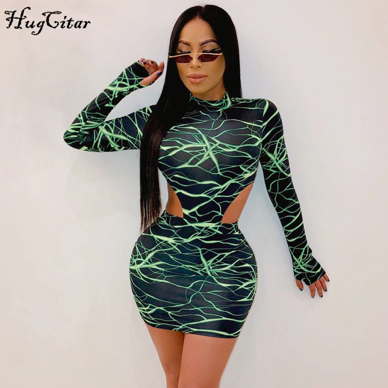 Hugcitar 2019 Long Sleeve Lightning Print Bodysuit Skirt 2 Pieces Set Autumn Winter Women Streetwear Outfits Club Tracksuit