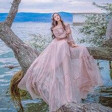 цена на Spring Long slash neck long dress sweet pink vintage big hem high quality Retro big swing holiday fairy dress