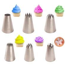 Juego de 6 boquillas Extra grandes de acero inoxidable para glaseado, decoración con crema para tortas, herramientas para hornear
