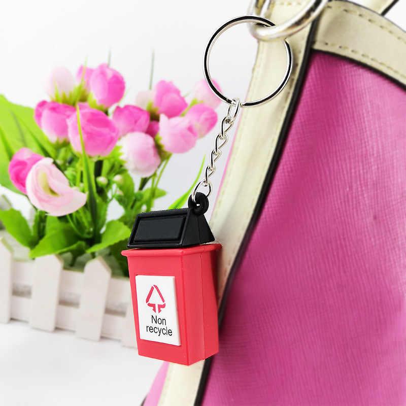 Karikatür çöp tenekesi anahtarlıklar dört renk çöp anahtarlık çanta kolye süs aksesuarları anahtarlık hediyeler kadınlar için erkekler