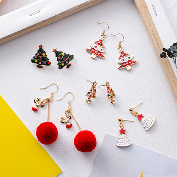 Fashion Statement Earrings 2021 Christmas Rhinestone Dangle Earrings For Women Korean Sweet Geometric Drop Earrings Jewelry Gift image