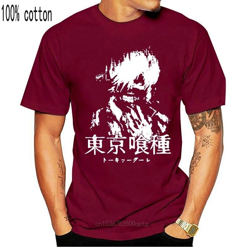 Tóquio ghoul kaneki ken preto e branco t camisas comic t-shirts de manga curta masculina elegante de algodão purificado camisas