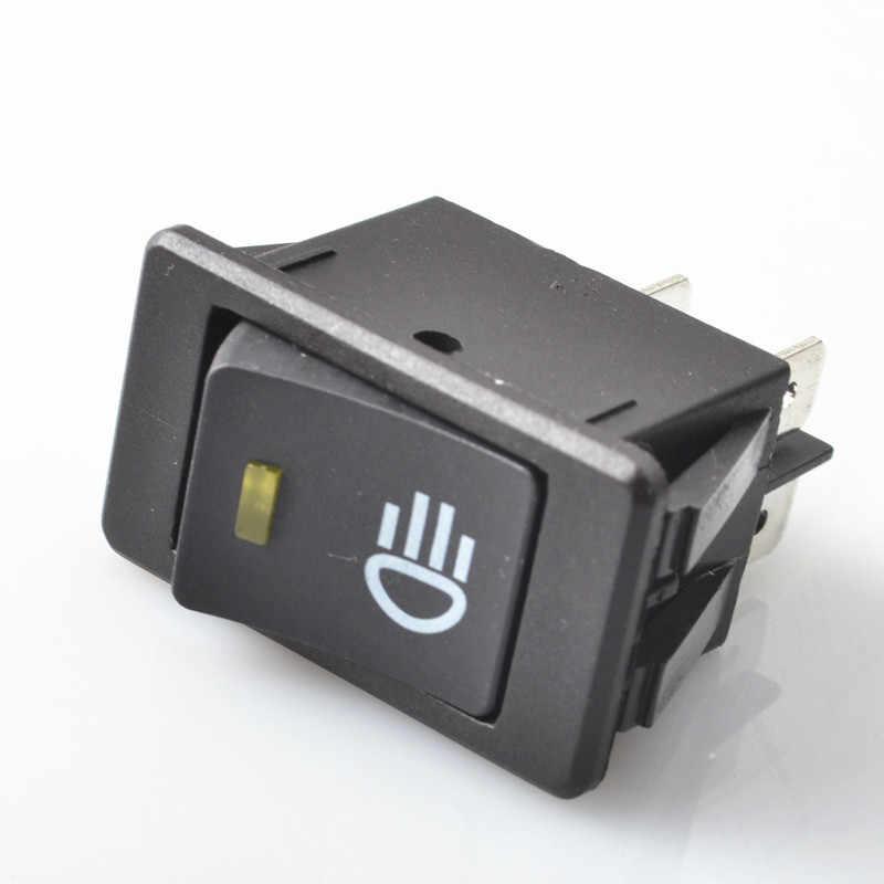 مفتاح هزاز للإغلاق مضاد للماء أصفر أخضر أزرق 4 دبوس 2 موضع 12 فولت 35A مصباح للضباب للسيارة مفتاح تبديل LED