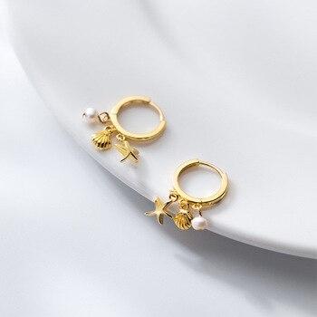 925 Sterling Silver Circle Earrings Hoops Huggie Cute Rose Gold Starfish Shell Pearl Earrings for Women Korean Jewelry Girl Gift