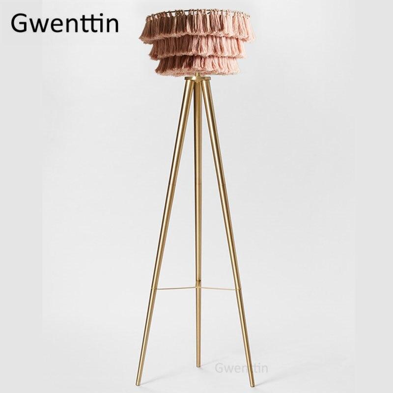 Nordic Pink Silk Thread Floor Lamp For