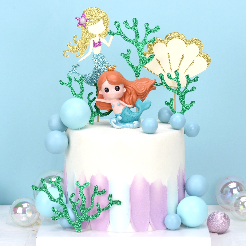 Cakelove Ins Crown Mermaid Decorations Laser Blue Fishtail Cake Topper for Children's Day Party Supplies Birthday Dessert Cute