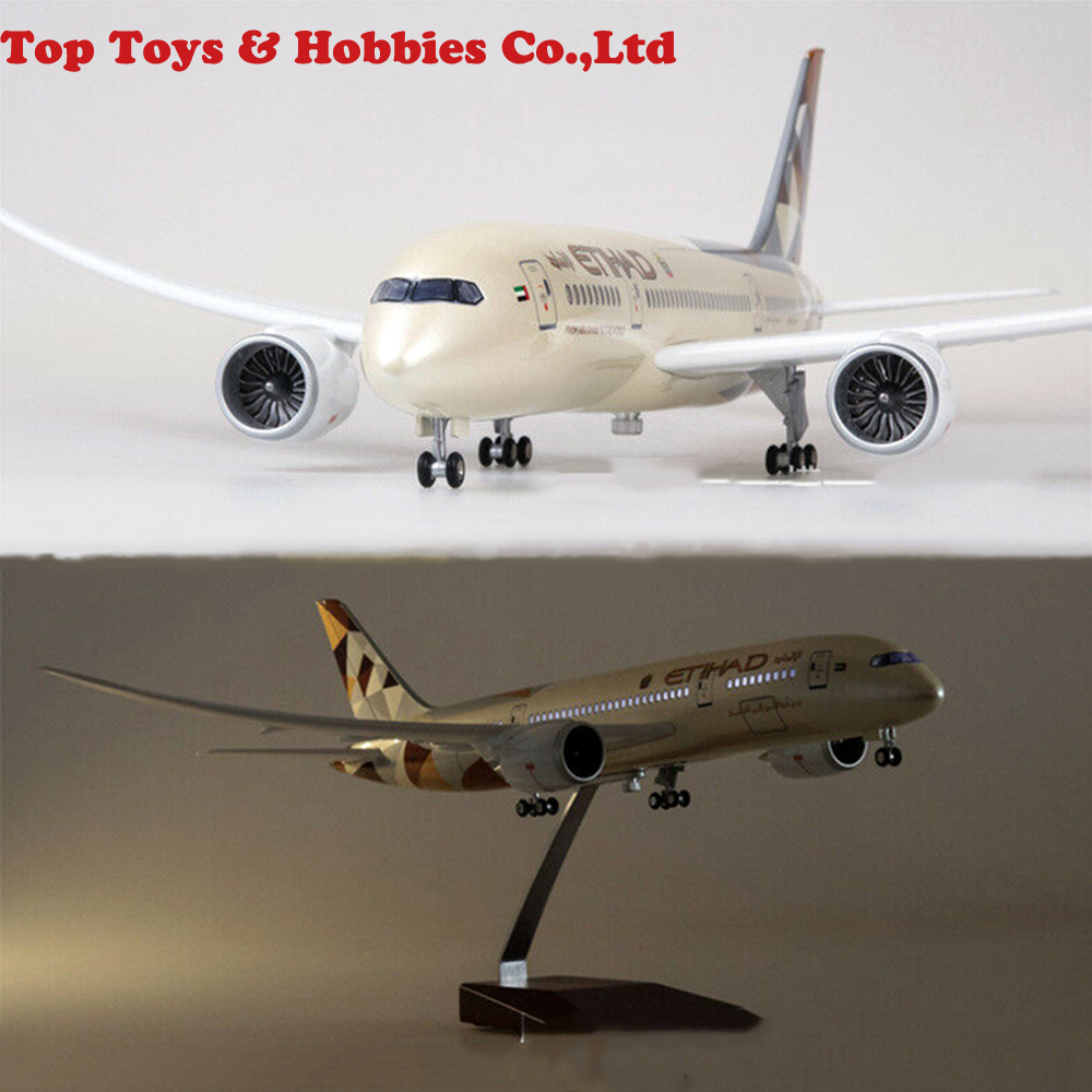 ETIHAD Airway Boeing 787 Passange Plane With LED Light Al-Ittihad Airplane LED Light Airplane B787 Airforce Model