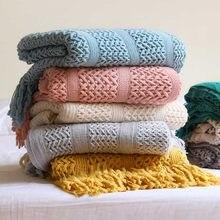 Mão de malha cobertor na cama sofá toalha oco thow fio cobertores para cama viagem tv cobertores macio cama listrado tapeçaria